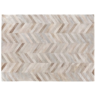 Exquisite Rugs Stitched Blocks Blood Orange / Ivory Leather Hair-on Hide Rug (11' x 15')