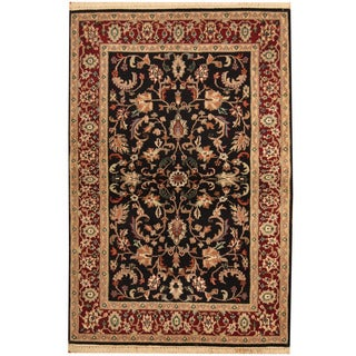 Herat Oriental Indo Hand-knotted Kashan Black/ Red Wool Rug (4'1 x 6')