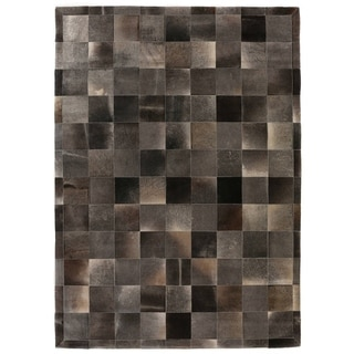 Stitched Blocks Charcoal Leather Hair-on Hide Rug (9'6 x 13'6)