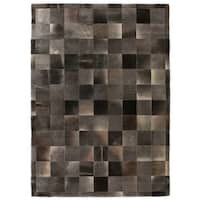 Exquisite Rugs Stitched Blocks Charcoal Leather Hair-on Hide Rug (9'6 x 13'6) - 9'6'' x 13'6''