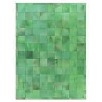 Exquisite Rugs Stitched Blocks Green Leather Hair-on Hide Rug (8' x 11') - 8' x 11'