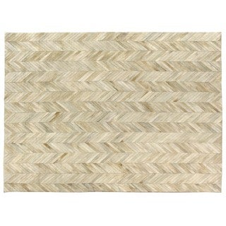 Exquisite Rugs Stitched Blocks Ivory Leather Hair-on-Hide Rug (8' x 11')