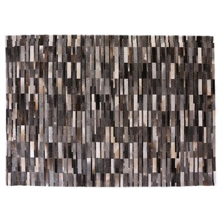 Stitched Blocks Grey Leather Hair-on-hide Rug (11' x 15')