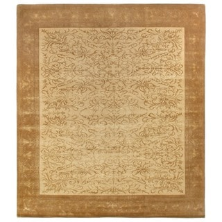Super Fine Tibetan Weave Beige and Gold Hand-spun Wool and Silk Rug (6' x 9')