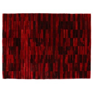 Stitched Blocks Red Leather Hair-on Hide Rug (5' x 8')