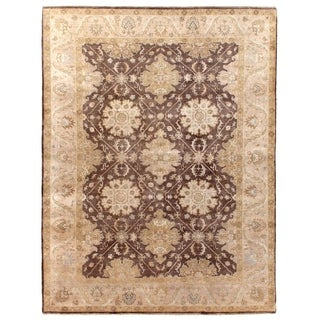 Super Fine Oushak Brown / Beige New Zealand Wool Rug (6' x 9')