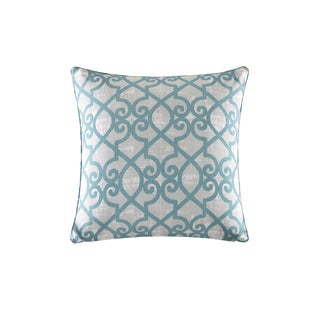 Madison Park Crystal Aqua Printed Fretwork 3M Scotchgard Outdoor/ Indoor Pillow