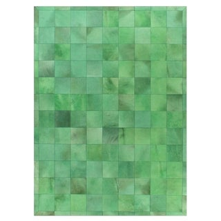 Stitched Blocks Green Leather Hair-on-Hide Rug (5' x 8')