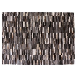 Stitched Blocks Grey Leather Hair-on-Hide Rug (5' x 8')