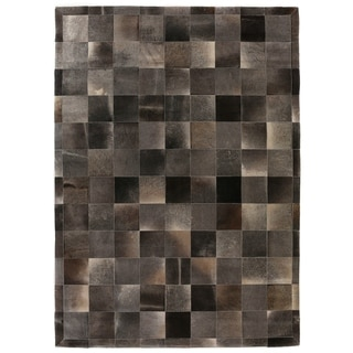 Stitched Blocks Charcoal Leather Hair-on-hide Rug (5' x 8')