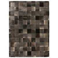 Exquisite Rugs Stitched Blocks Charcoal Leather Hair-on-hide Rug (5' x 8') - 5' x 8'
