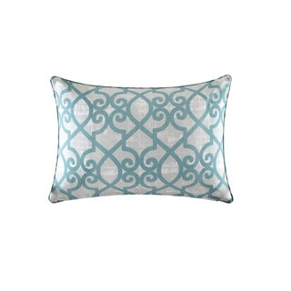 Madison Park Crystal Aqua Printed Fretwork 3M Scotchgard Indoor/ Outdoor Pillow