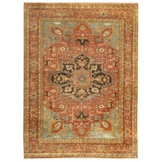 Serapi Rust / Sky New Zealand Wool Rug (6' x 9')