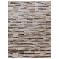 Exquisite Rugs Stitched Blocks Beige Leather Hair-on-hide Rug - 5' x 8'