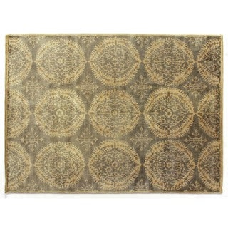 Royal Damask Grey New Zealand Wool Rug (6' x 9')