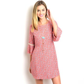 Shop the Trends Women's Junior 3/4-sleeve Woven Dress
