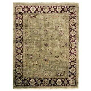 Exquisite Rugs Super Kashan Green / Maroon New Zealand Wool Rug (10' x 14')
