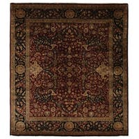 Exquisite Rugs Super Kashan Maroon New Zealand Wool Rug (9' x 10') - 9' X 10'