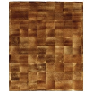 Natural Mocha Leather Hair-on-hide Rug (5' x 8')
