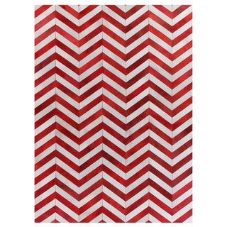 Chevron Red / White Leather Hair-on-hide Rug (5' x 8')