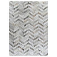 Exquisite Rugs Chevron Silver / White Leather Hair-on Hide Rug - 5' x 8'