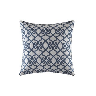 Madison Park Crystal Navy Printed Fretwork 3M Scotchgard Indoor/Outdoor Pillow 26-inch