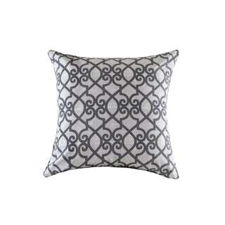 Madison Park Crystal Grey Printed Fretwork 3M Scotchgard Indoor/Outdoor Pillow 26-inch