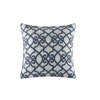 Madison Park Crystal Navy Printed Fretwork 3M Scotchgard Indoor/Outdoor Pillow 20-inch
