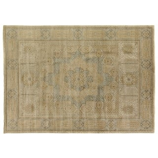 Tabriz Pale Gold / Grey New Zealand Wool Rug (9' x 12')