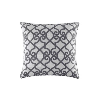 Madison Park Crystal Grey Printed Fretwork 3M Scotchgard Indoor/Outdoor Pillow 20-inch