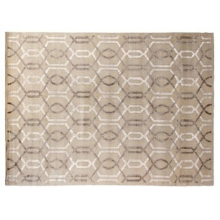Tibetan-weave Ivory Wool and Art Silk Rug (9' x 12')