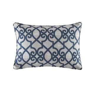 Madison Park Crystal Navy Printed Fretwork 3M Scotchgard Indoor/ Outdoor Pillow