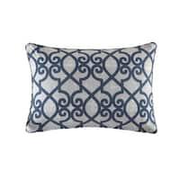 Madison Park Crystal Navy Printed Fretwork 3M Scotchgard Indoor/ Outdoor Pillow