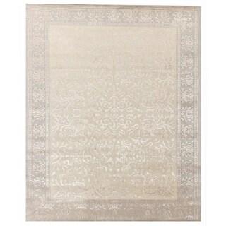 Exquisite Rugs Super Tibetan Ivory Hand-spun New Zealand Wool and Silk Rug (8' x 10) - 8' x 10'