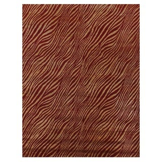 Tibetan-weave Red / Gold Wool and Artificial Silk Rug (10' x 14')