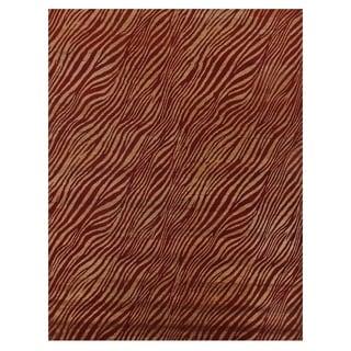 Tibetan-weave Red / Gold Wool and Art Silk Rug (8'6 x 11'6)