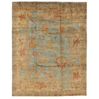 Turkish Oushak Blue / Beige New Zealand Wool Rug (10' x 14')