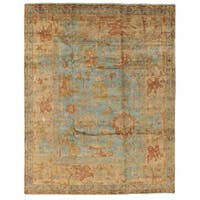 Exquisite Rugs Turkish Oushak Blue / Beige New Zealand Wool Rug (10' x 14')