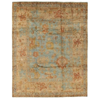 Turkish Oushak Blue and Beige New Zealand Wool Rug (9' x 12')