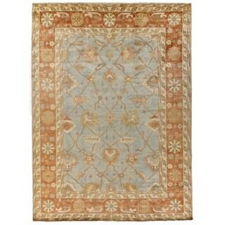 Turkish Oushak Blue / Brown New Zealand Wool Rug (10' x 14')