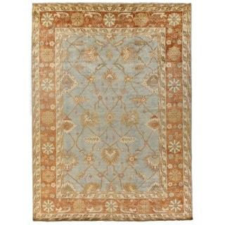 Turkish Oushak Blue / Brown New Zealand Wool Rug (8' x 10')