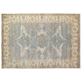 Turkish Oushak Blue / Ivory New Zealand Wool Rug (8' x 10')
