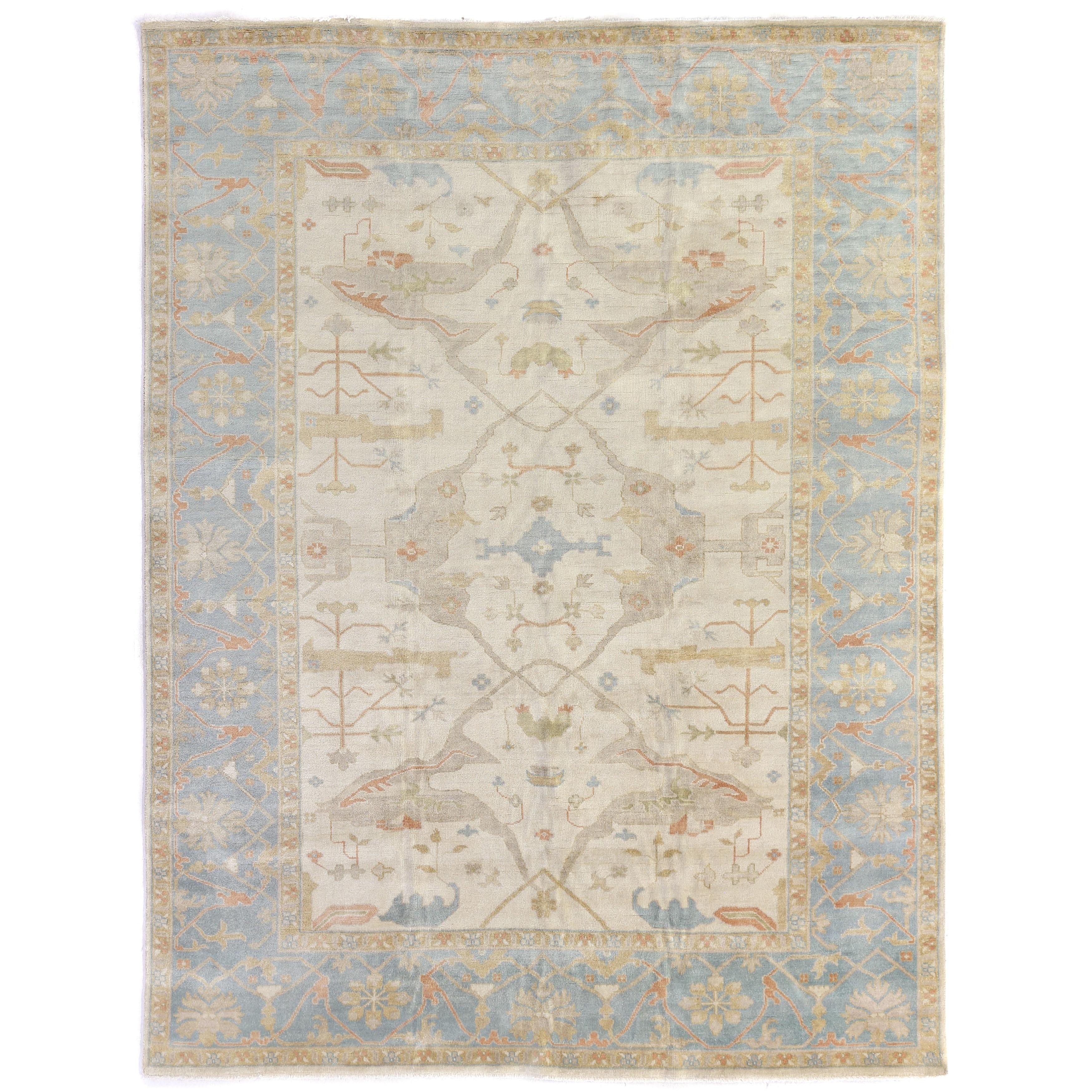 Exquisite Rugs Turkish Oushak Ivory Blue New Zealand Wool Rug 10 X 14