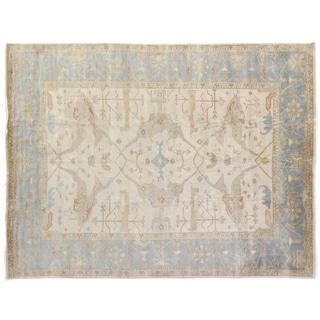 Turkish Oushak Ivory / Blue New Zealand Wool Rug (10' x 14')