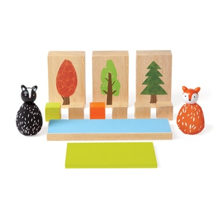 Manhattan Toy MiO Wooden Woodland + Fox + Skunk Building Set