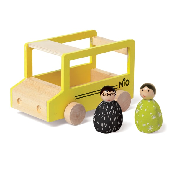 Manhattan Toy MiO School Bus and 2 People Wooden Building Set