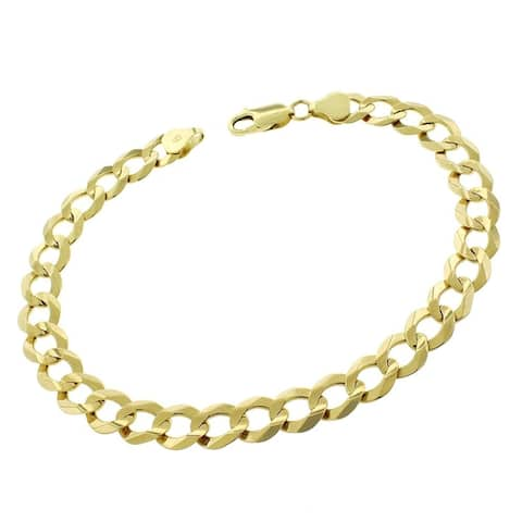 """10k Yellow Gold 8mm Solid Cuban Curb Link Bracelet Chain 8.5"""", 9"""""""