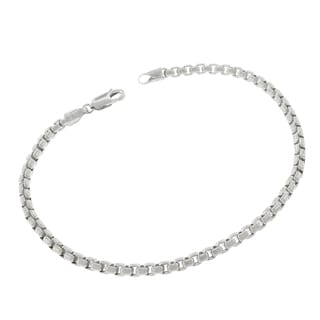 10k White Gold 3.5mm Round Box Link Fancy Bracelet