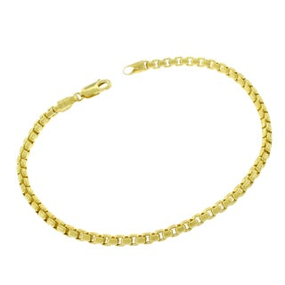 14k Yellow Gold 3.5mm Round Box Link Fancy Bracelet