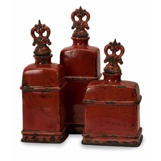 Garnet Bottles with Finials (Set of 3)